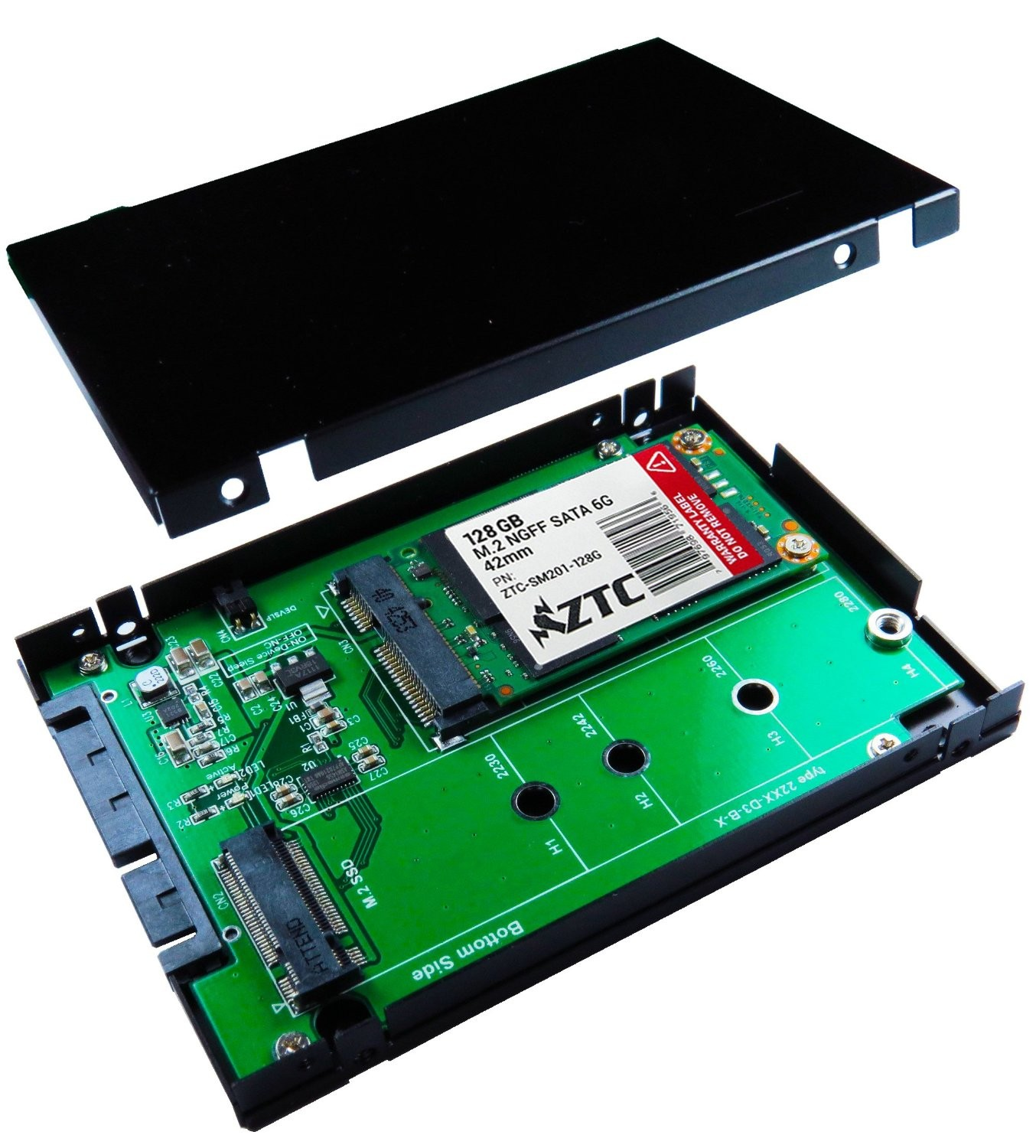 "ZTC 2-in-1 Sky 2.5"" Enclosure M.2 (NGFF) or mSATA SSD to SATA III Board Adapter. Multi Size Fit with High Speed 6.0GB/s. Model ZTC-EN005"